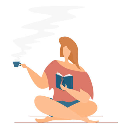 The girl sits with a book, crossing her legs and drinking hot tea or coffee. Isolated on white. Home education concept, distance learning. Ilustración de vector
