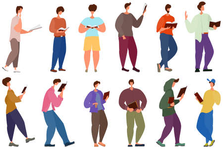 People are standing and reading a book. Men in different positions hold a book in their hands. Set of shapes isolated on white. Vector in flat style. Vectores