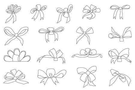 A set of bows in the outline style. Collection of vector decorative bows. Isolated on white.