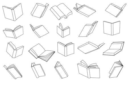 Set of vector icons. Opened book in outline style. Isolated on white. Book with pages from different angles.