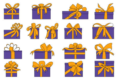Set of boxes for gifts with big beautiful bows and ribbons.Vector in a flat style isolated on white.