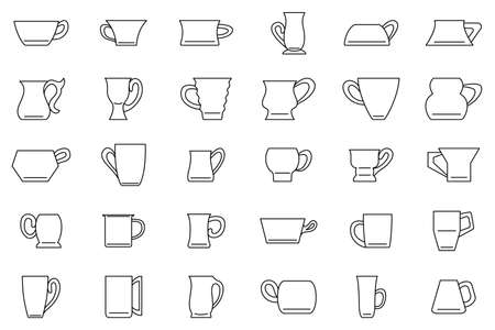 Set of mugs for drinks - tea, coffee, water, milk.Vector icons isolated on white. Drinking mug in outline style. Vectores