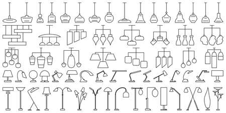 A set of elements for indoor lighting. Suspended ceiling chandeliers, table lamps, floor lamps. Vector icons in outline style isolated on white.