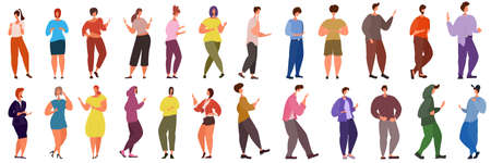 A set of active people in different poses with different emotions. People are standing, talking, laughing, waving their hands. Vector in a flat style isolated on white.