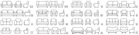 A set of furniture for an office, bedroom, living room. Sofa, armchair, ottoman. Vector in outline style isolated on white. Vectores
