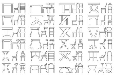 Set of vector icons in outline style. Table and chair for the kitchen, office, cafe, restaurant. Isolated on white. Collection of indoor furniture.