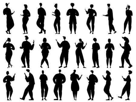 People walk, laugh, get angry, shout, talk. Men and women in different poses. Set vector in silhouette style isolated on white.