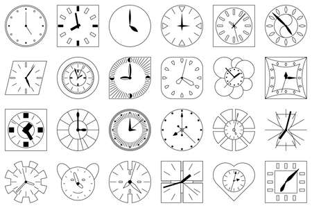 A set of wall clocks of different shapes. Vector icons in outline style isolated on white. Dial with hands for hours, minutes, seconds.