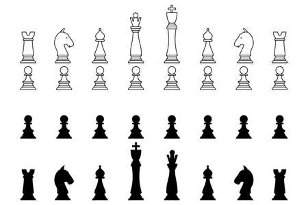 Chess pieces in outline and silhouette style. Set for a board game of chess. Vector icons isolated on white. Vectores