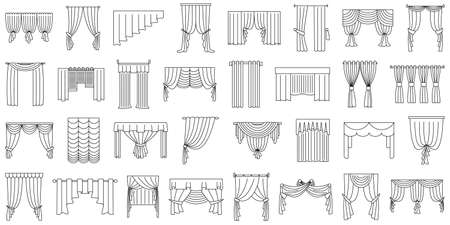 Curtains for window, doorway, theater stage. Set of vector icons in outline style isolated on white. Various curtain options for narrow and wide windows. Vectores