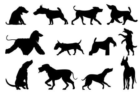 Set of dogs in silhouette style. Dogs play, run, stand. Isolated on white. Pet vector icon. Vectores