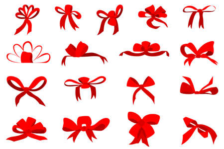 Big beautiful red bow for decoration. Vector in a flat style isolated on white. A set of bows for gifts.