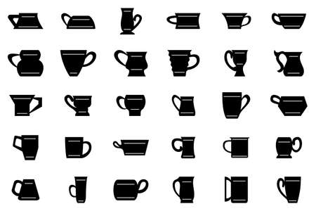 Drinking mug. Set vector in silhouette style isolated on white. Kitchen utensils for tea, coffee, drinks. Icon for cafe, restaurant, menu.
