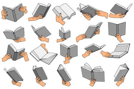 Open book in hand. Set of vector icons in a flat style isolated on white. For library design, bookstore, online learning. Vectores