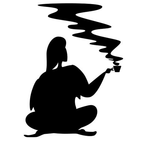 A woman sits cross-legged and holds a mug of hot tea or coffee in her hand. Black silhouette on a white background.
