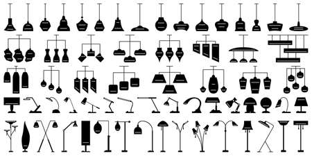 Lamp for room lighting. Floor lamp, pendant chandelier, table lamp. Set of vector icons in silhouette style isolated on white. Modern fashionable light for the home.
