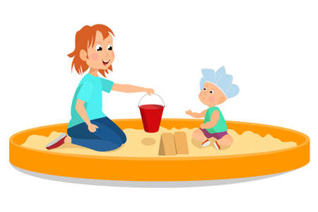 Children play in the sandbox. A girl and a kid make shapes out of sand with a bucket. Cartoon style vector isolated on white. Vectores