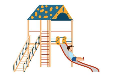 The boy slides down the children's slide. Playground for children. Cartoon style vector isolated on white.