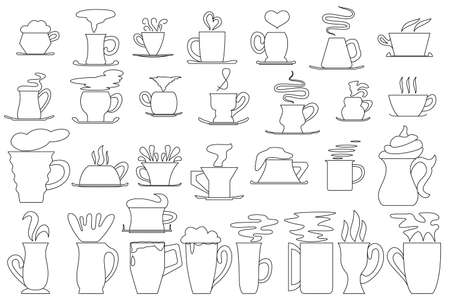 A mug and a cup of hot drink. Set of vector icons isolated on white, outline style. Cup and saucer for coffee, mug for tea, chocolate, milk.