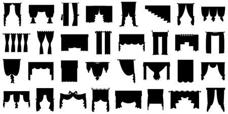 Curtains for windows, balconies, theaters, restaurants, bedrooms. Set vector isolated on white, style in silhouette.
