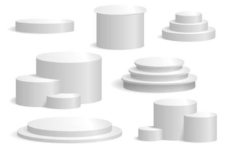 The product is a round and cylindrical podium in one and several tiers. Set of vector podiums for mockups, exhibitions and presentations. Isolated on white, realism style.