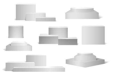 Set of product podium for presentations, exhibitions. Vector podium in gray, isolated on white, realistic style. Layered design with round and rectangular elements.