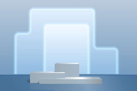 Product of a podium of three steps on an abstract background in shades of blue. Vector scene for presentations, exhibitions, advertising, realism style.
