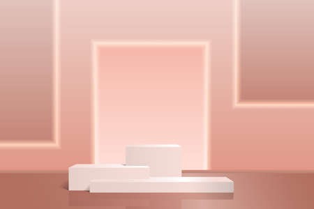 Product Podium Pink with reflection and shadow on an abstract background with neon backlight. Vector minimal scene for presentations and exhibitions, 3D realism.