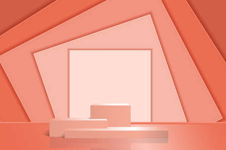Product podium on an abstract background with rectangular shapes. Pink pedestal with shadow and reflection from three steps for exhibitions, presentations. Vector 3d realism.