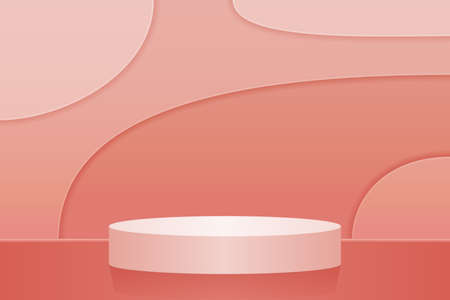 Minimalistic round scene for presentation. Abstract pink background, cut paper style. 3d, vector, realism. Product Podium for advertising exhibition.