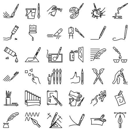 Drawing tools, painter brushes, pencil, liner, ballpoint pen, marker, computer graphics. Set of simple icons, vector, outline, isolated. 48x48 pixel.