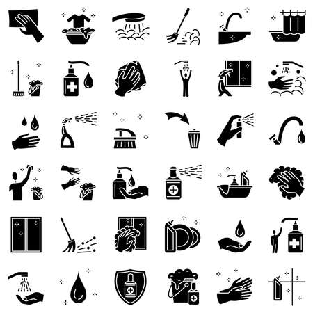 Cleaning and disinfection of surfaces, windows. Removal of stains from clothes, washing hands, cleaning of dishes, hygiene, antibacterial processing, bathroom. Set of icons, vector, glyph, 48x48 pixel.