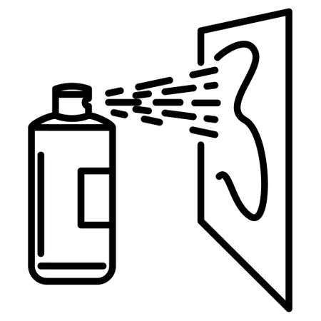 A bottle of graffiti paint. Insecticidal aerosol. Cleaning spray. Spray paint. Icon, vector, outline, isolated.