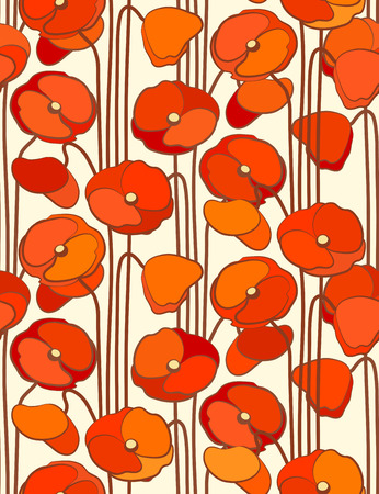 мак: Poppies. Seamless floral background.