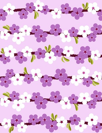 Cherry blossom. Seamless background. Vector illustration. Vector