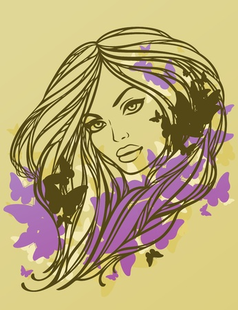 Portrait of long haired sexy girl with butterflies. Vector illustration. Vector