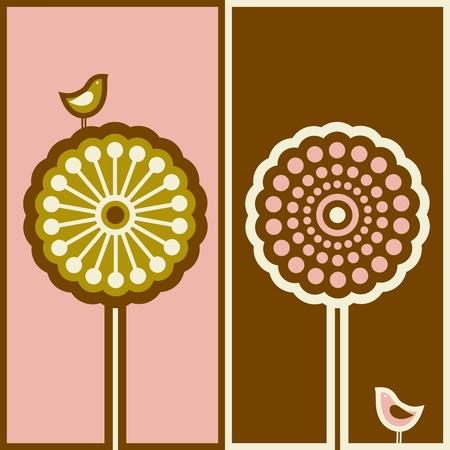 Cute bird and arabesque tree. Vector illustration. Vector