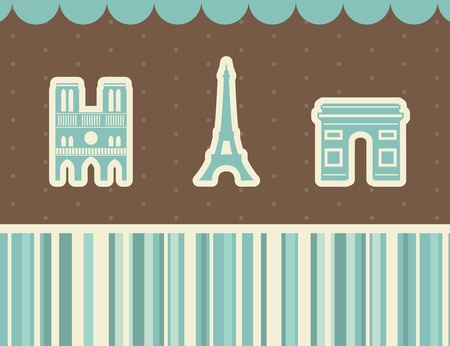 notre: Best Paris sights. Vector illustration.