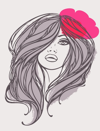 Portrait of long haired girl with pink flower  Vector illustration  Vector