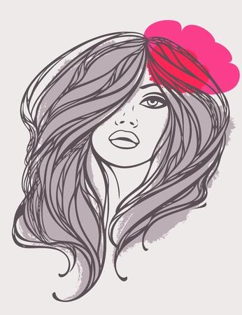 Porträt von langhaarigen Mädchen mit rosa Blume Vektor-Illustration