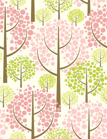 cherry blossom: Spring forest  Seamless pattern