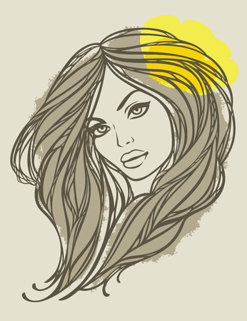 Portrait of long haired girl with yellow flower. Vector illustration.