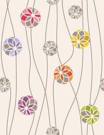 Kleurrijke bloemen medaillons. Naadloze vector patroon