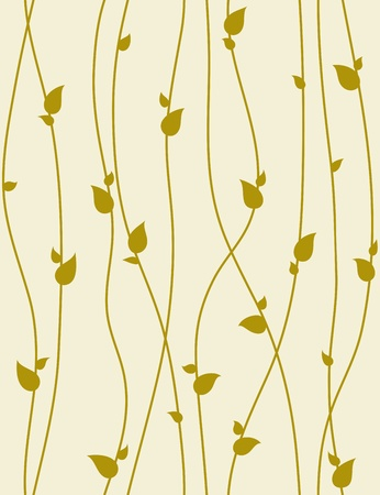 Seamless foliage pattern with spring branches. Vector