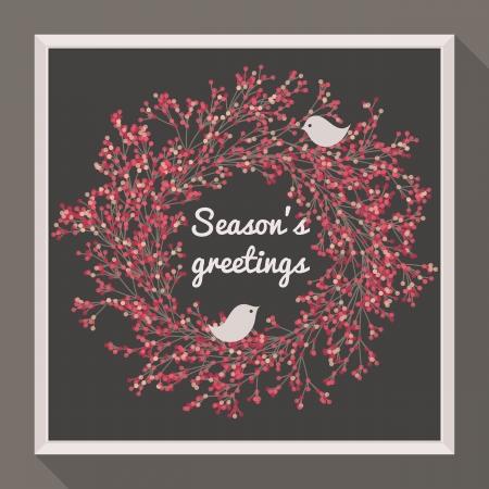Holly wreath with two pretty birds  Season Vector