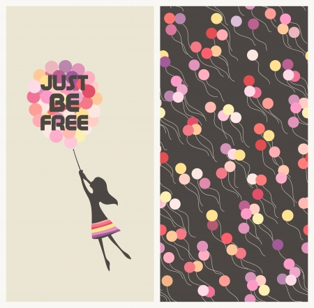 cute cartoon girl: Little girl flying away on balloons  Motivational text idiom Just be free   Illustration