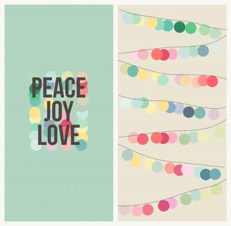 peace and love: Peace, love, joy - Multicolored design - Vector illustration