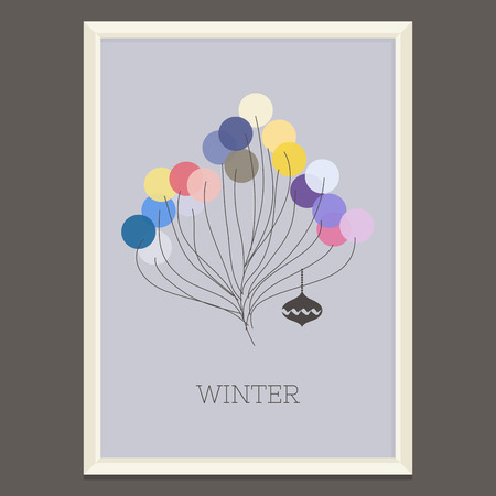 Colorful winter poster with Christmas tree illustration  Vector
