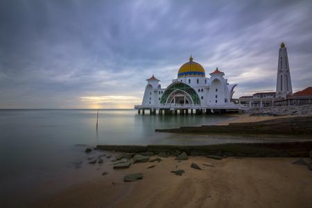 islamic scenery: MALACCA, MALAYSIA - 01 JANUARY 2016 - Melaka Strait Mosque (Masjid Selat), Malacca, Malaysia. Editorial