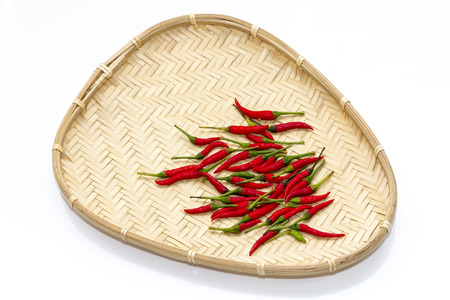 capsaicin: red chillies in a wicker basket